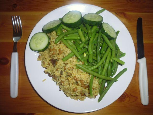 rijst, linzen en bonen